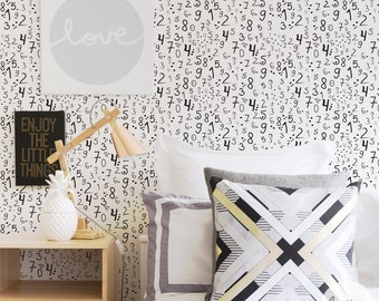 Kids room removable wallpaper with numbers, self adhesive or traditional material