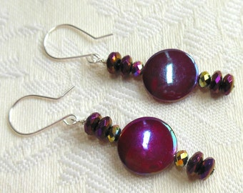 Purple mother of pearl and crystal earrings, sterling silver earrings, argentium sterling silver