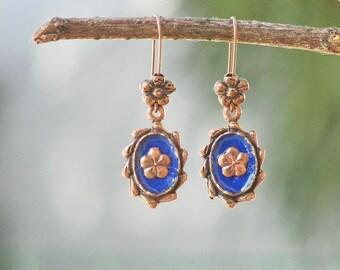 Blue Enamel Earrings - Enamel and Copper Dangle Earrings