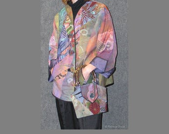 Chrysanthemum Midnight - One of a Kind ensemble - jacket, slacks, and purse