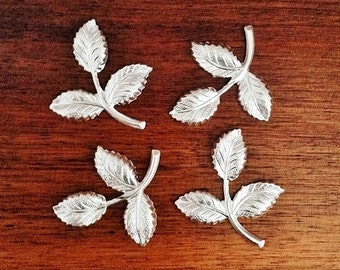Silver Brass Leaf, Brass Leaves, Brass Stamping, Brass Finding, Wedding Headpiece Supply, 26mm x 29mm - 4 pcs. (ss284)