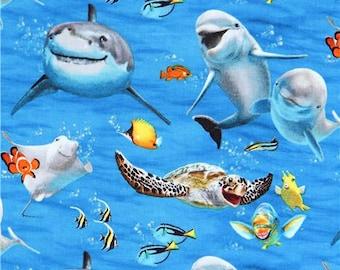 215095 blue with funny dolphin shark fish Ocean Selfie fabric by Elizabeth's Studio