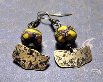 Etched Brass Bee Earrings with Antique Venetian Millifiori Trade Beads - Free Domestic Shipping