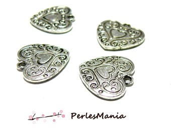 Heart pendant charms 10pcs flat two-sided 19mm, Antic silver