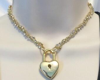 A CollarsCuffs ORIGINAL DESIGN submissive collar 3 strand braided Crystal & Gold Ball Chain w/Heart Shaped work padlock choker Polyamory