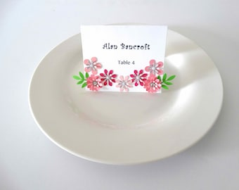 Layered Flower Place Cards, wedding place cards, welcome place card, garden party place cards, table cards, food cards, set of 8