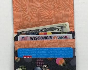 Grey Orange Polka Dot Wallet