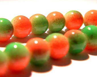30 beads - 10 mm - two-tone - orange and Green Pearl - glass - G65-7