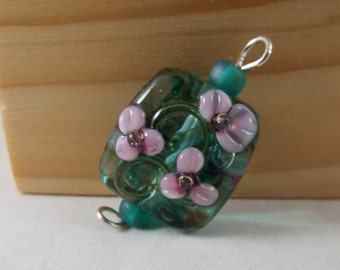 Large Green Focal Lampwork Bead with Pink Flowers