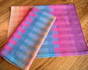 Handwoven Tea Towel Magenta Rainbow Blocks, Kitchen Towel, Bath Towel, Hostess Gift, Guest Towel, Basket Liner, Chef Towel, Handloomed Towel