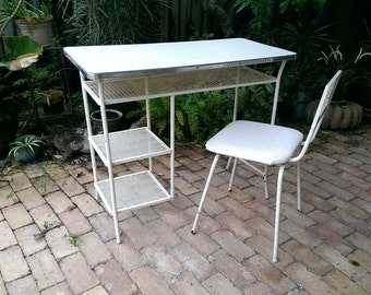 Cool Mid Century Metal Mesh Desk And Chair Set