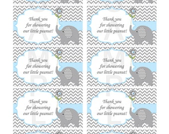 Thank You for Showering Our Little Peanut Insert for Elephant Boy Baby Shower Invitations  (49D3)
