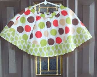 Upcycled,Skirt,White,Orange,Green,Brown Netting,Girls,Toddler,Wardrobe,Clothing,Cotton
