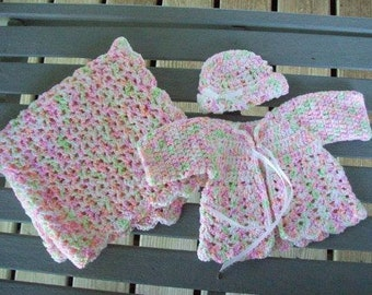 Preemie,sweater,afghan,hat,variegated,pink,lavender,peach,mint,infant,girls,photo's,shower,gift,crocheted,babies