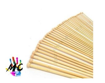 Set of 18 pairs of needles to knit bamboo 35 cm
