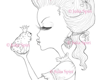 Coloring Pages, Digital stamp, Digi, Girl, Flowers, Fantasy, Whimsical, Crafting, Cardmaking.  The Princess and the Frog