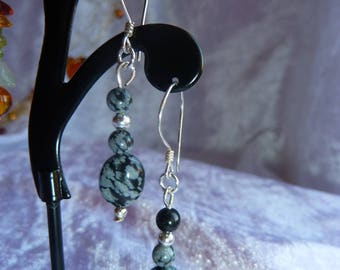 Genuine Obsidian speckled earrings