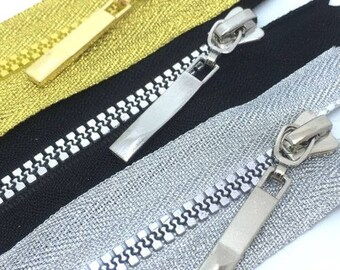 Gold, Black, Silver, Closed End Chunky Plastic Teeth Zip, 16-18cms long zippers