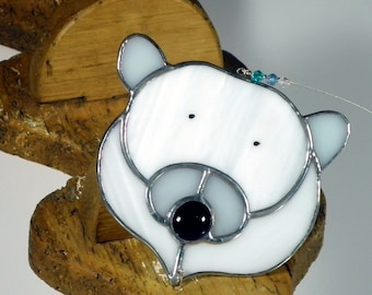 Stained Glass Polar Bear Christmas ornament & window decoration