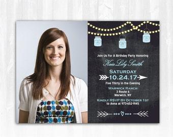 Mason Jar Birthday Invitation Photo DIY PRINTABLE Digital File or Print (extra) String Lights Birthday Invitation Chalkboard Birthday Invite