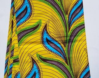Yellow African Fabric; Ankara Fabric; African Clothing; African Fabric in yard; African Headwrap;Ankara Fabric in yards;Ready to Ship