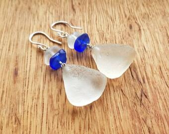 Genuine White and Blue Sea Glass Earrings, Irish White and Cobalt Blue Sea Glass Earrings, Beach Glass Earrings