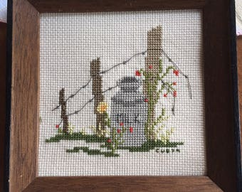 Small farm milk dairy cross stitch shabby chic cottage chic vintage