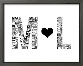 Custom Wedding Gift Art Print (8x10) - Initials In Love