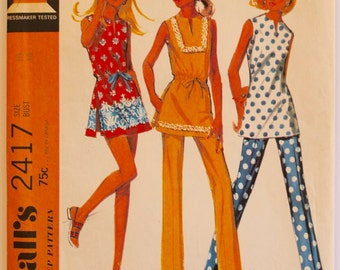 Tunic Sewing Pattern Vintage 1970s Womens Tunic, Pants, and Shorts Sewing Pattern Size 16 Bust 38 McCall's 2417