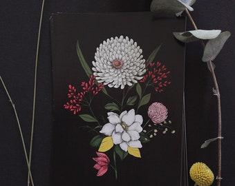 "Postcard - botanical drawing - flower - bohemian - ""Flora Black"""