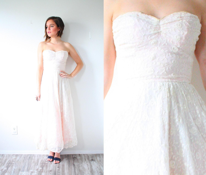 Vintage-Pfirsich-Spitze Hochzeitskleid / / Pfirsich