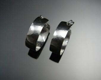 """Sterling Silver Hoop Earrings, 1"""" Hoop Earrings, Hammered Hoop Earrings, Medium Size, Made to Order"""