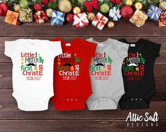 Little Mister Christmas Bodysuit, Personalized, New Baby, My First Christmas, Baby Boy Christmas