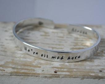Alice In Wonderland Jewelry, Disney Jewelry, We're All Mad Here, Best Friend Bracelet, Disney Bracelet, Disney Party Gift