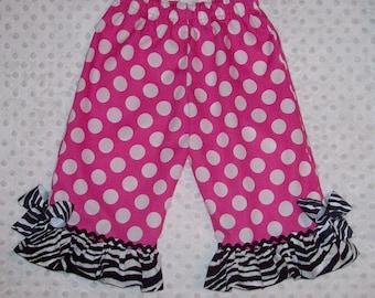 Hot Pink Minnie Dot Ruffled Pants with Zebra Ruffle with Black Rick Rack Trim