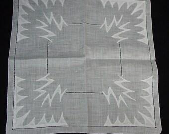 Unique Vintage Hanky, Handkerchief Artistic Applique