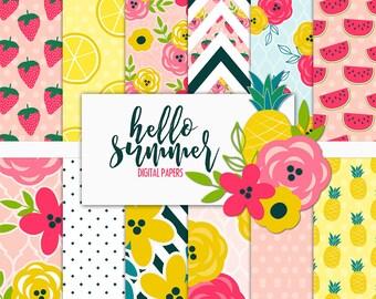 Hello Summer Digital Paper Pack   Scrapbook Paper   Printable Background   12 JPG, 300dpi files.