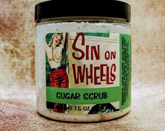 Sin on Wheels Sugar Scrub - 7.5 oz, Foaming, Moisturizing, Cashmere Glow, Sunflower Oil, Pinup Beauty