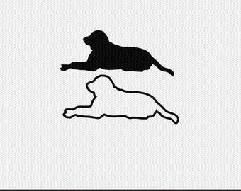 dog outline labrador svg dxf file stencil monogram frame silhouette cameo cricut clip art commercial use