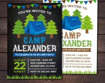 Camping Invitation, Camping Birthday Party, Boy Sleepover Invitation, DIGITAL, 2 Options