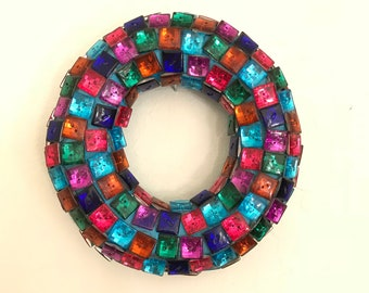 Handmade Multicolor Button Wreath