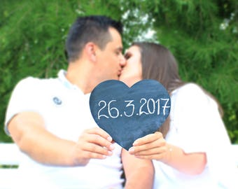 Rustic wedding heart sign, Wedding chalkboard sign, Rustic wedding heart photo prop, Rustic wooden heart sign, Wedding heart sign decor
