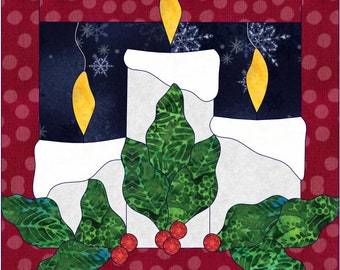 Christmas Candles Applique Quilt Pattern