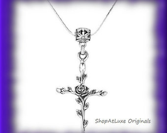 Antique Silver Cross With Rose Vine Necklace