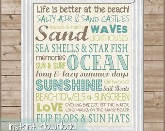 Beach Subway Art Sign, Ocean & Sand - Printable Instant Download