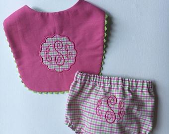 Diaper Cover & Bib set for her, baby shower gift set, infant, girl, FREE MONOGRAM, girls diaper pants, under pants, rumba, toddler, bloomers