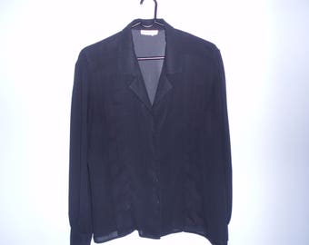 Black  Blouse / Silk Women's Blouse / Long Sleeves Blouse / Classic Collar / Front Buttons / 90s Style / Size: 14