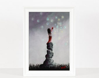 Little Garnet Fairy - Fairy Art Prints - Miniature Prints - January Birthday Gift - Wall Art - Art Prints - Heart Pictures - Gift For Teens