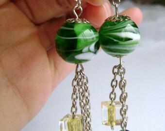 Lampwork earrings - handmade green white - Conjuring Tricks - long green and white lampwork glass long earrings