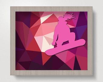 Snowboarder Girl, Tween Room Decor, Snowboard, Girl, Snowboard Art, Girls Room Decor, Winter Decor, Teen Art Decor, Pink, Geometric